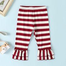 Расклешенные брюки для маленьких девочек; милые повседневные весенне-осенние расклешенные штаны в полоску с кружевом; Новинка