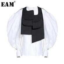 [EAM] Women Blouse New Round Collar Long Lantern Sleeve Loose Fit Button Irregular Shirt Fashion Tide Spring Autumn 2021 JZ327