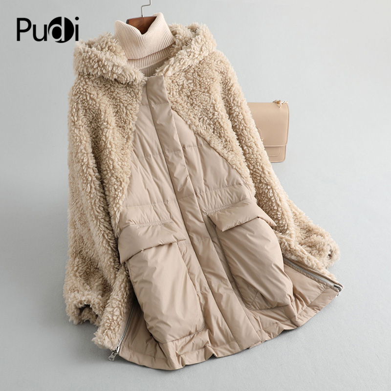 PUDI A59233 Women Winter Polyester Fabric Real Wool Fur Down Warm Jacket Small Camel Fur Girl Coat Lady Long Jacket Overcoat