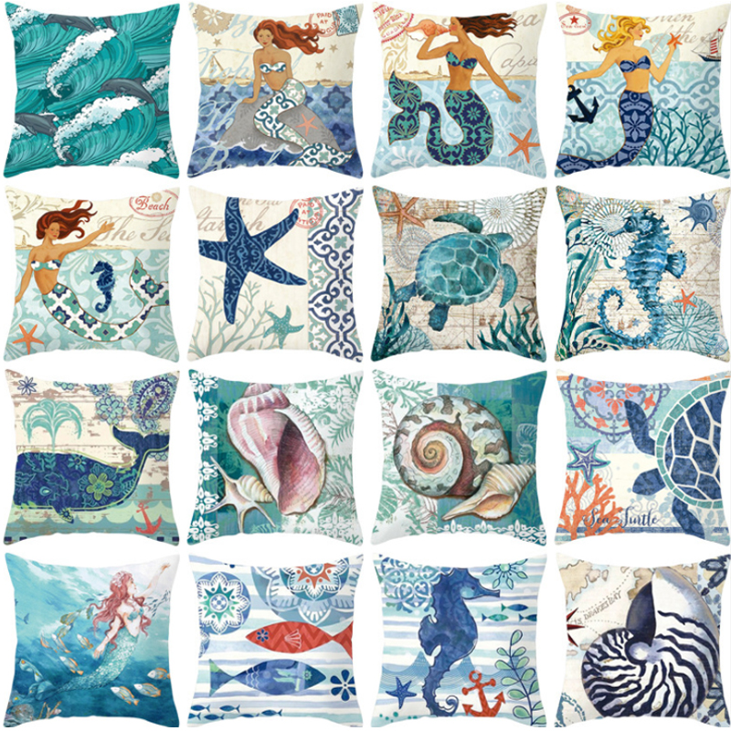 Retro Cushion Pillow Cover Mermaid Ocean World Starfish Sea Aquarium Cotton Linen Pillow Cover Throw Pillowcase image