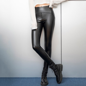 Women Motorcycle Faux Leather Trousers High Waist Black PU Slim Pants Punk Gothic Fashion Casual