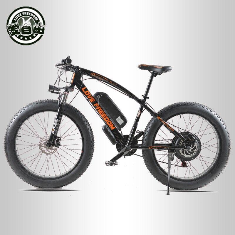 Amor liberdade 21 velocidade mountain bike bicicleta elétrica 36 v 350 w 10.4ah 26x4.0 poderosa elétrica gordura bicicleta entrega gratuita