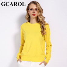 GCAROL 2019 Fall Winter Candy Knit Jumper Women 30% Wool Sweater Soft Stretch OL Render Knit Pullover Knitwear S-3XL(China)