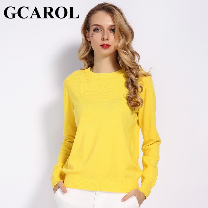 GCAROL Women Candy Knit Jumper Women 30% Wool Sweater Spring Autumn WInter Soft Stretch OL Render Knit Pullover Knitwear S-3XL(China)