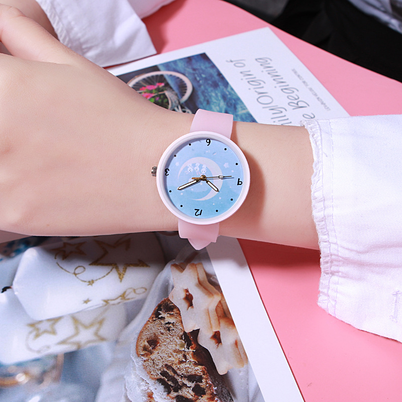Candy Color Watch Girls Junior High School Students Cute Japanese Girlfriends Kawaii Pink Girl Jelly Luminous Women Watch