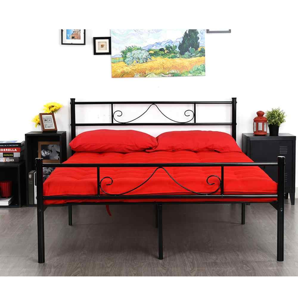 White Metal Twin Full Queen King Size Platform Bed Frame Furniture Footboard