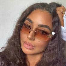 Gafas de sol rectangulares sin montura para mujer, lentes de marca de lujo con tintado marrón, cuadradas a la moda, gradiente de gafas, 2020