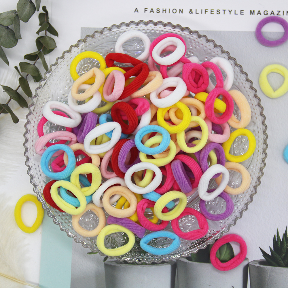 <font><b>100</b></font> Pcs Baby Child Colorful Elastic <font><b>Hair</b></font> Band Girl Kid Rope Ring Scrunchy Headband Rubber Ponytail Holder <font><b>Tie</b></font> Child Accessories image