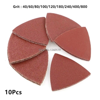 10Pcs Red Grit Sanding Sheet Discs Triangle Grinder Sandpaper Pad 80mm Oscillating Abrasive Polishing Tool 40# to 800# Whosale image