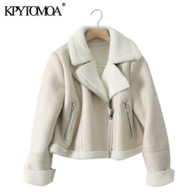 KPYTOMOA Women Fashion Thick Warm Winter Fur Faux Leather Cropped Jacket Coat Vintage Long Sleeve Female Outerwear Chic Tops