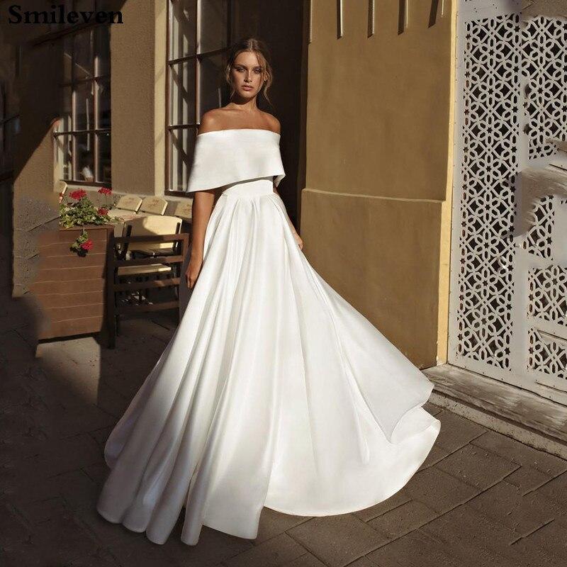 Smileven Bohemian Wedding Dress Satin Off The Shoulder Turkey Boho Bridal Dress Princess Wedding Gowns Vestido De Noiva
