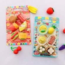 cute Stationery Simulation Food Style Colour Eraser Removable Assembly Gift Student Prize Cartoon for children
