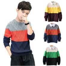 Джемперы для мальчиков; Свитера с воротником Пуловер в клетку