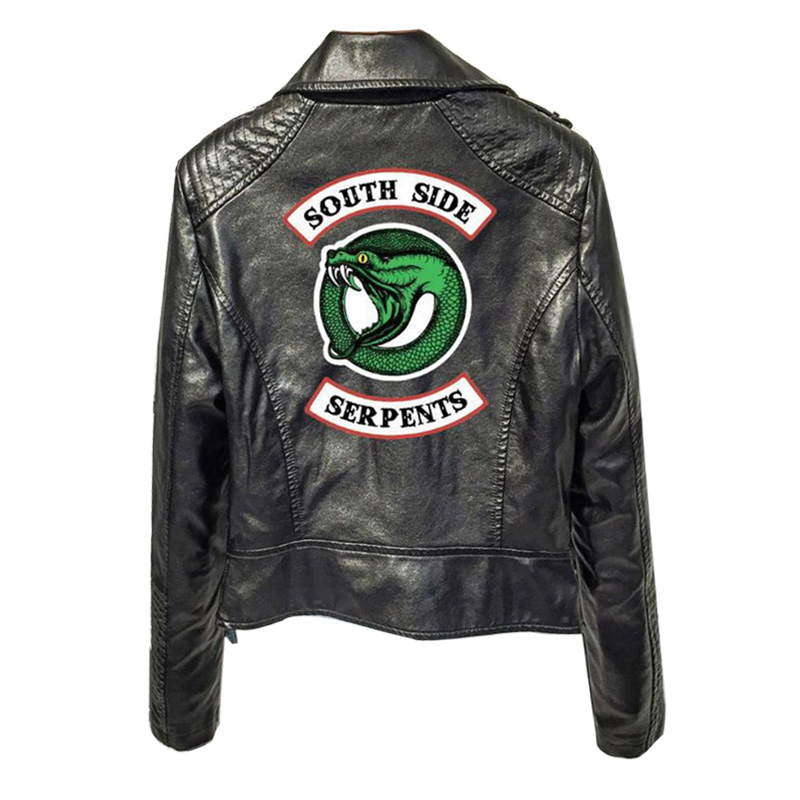 Southside Riverdale Print Logo Serpents Pink/black Pu Leather Jackets Women Riverdale Serpents Streetwear Leather Brand Coat