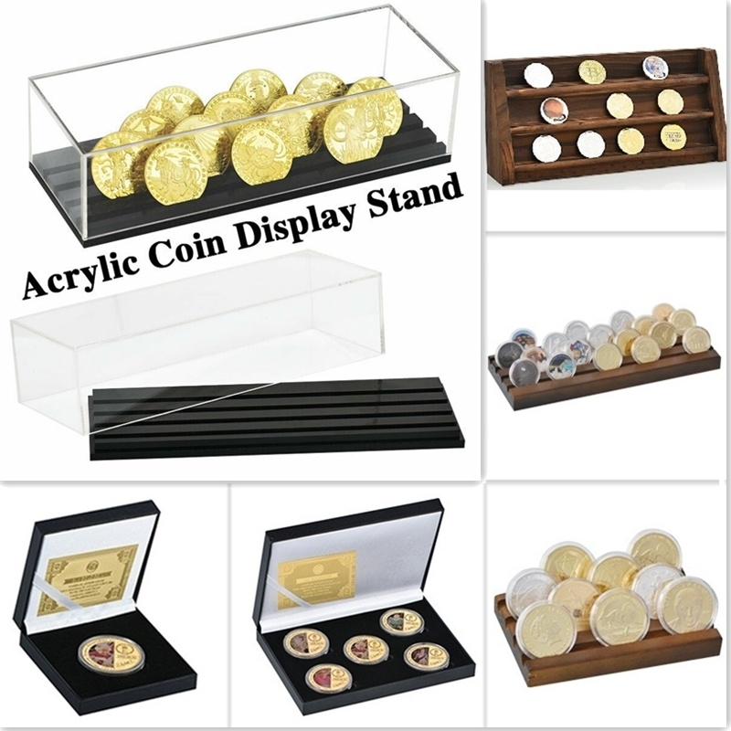 13 Styles Challenge Coin Holder Medal Storage Shelf Military Coin Display Stand Case Collector Box Desk Decor Gifts For Men