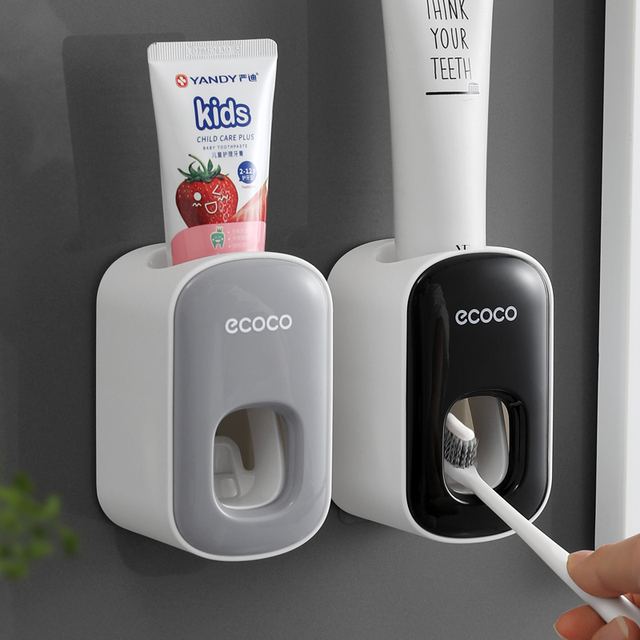 Wall Mount Automatic Toothpaste Dispenser Bathroom Accessories Set Toothpaste Squeezer Dispenser Bathroom Toothbrush Holder Tool 2