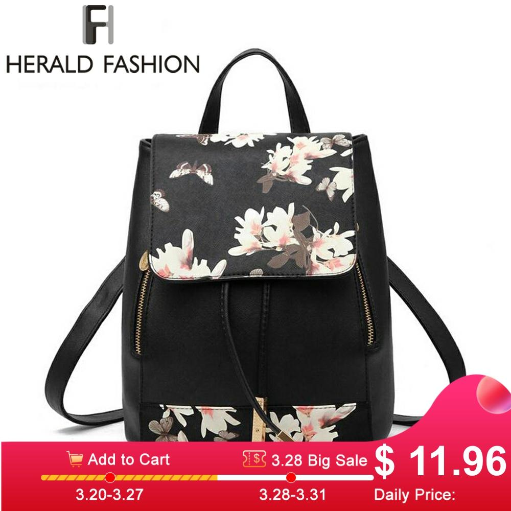 Herald Fashion Women Preppy Style Backpack PU Leather Female Shoulder Bag Floral Pattern School Bag For Teenage Girls Dropship