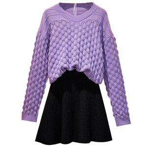Новый Зимний Сказочный вязаный свитер, вязаная юбка с высокой талией, комплект из двух предметов, Женский пуловер, свитера, вязаный Топ, плис...