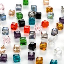 8mm square beads Crystal Glass Beads Accessories For Jewelry Making, Square Shape Crystal Cube Glass Beads. 30 pcs/lot