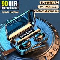 Auriculares inalámbricos con Bluetooth, dispositivo con cancelación activa de ruido, estéreo de graves profundos, deportivo, intrauditivo, micrófono Dual con caja de carga