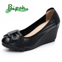 PEIPAH Autumn Genuine Leather Women's High Heels Shoes Mary Jane Female Pumps Slip On Casual Shallow Woman Wedges Platform Shoes fedonas retro women soft genuine leather mary jane wedding party shoes woman high heels elegant casual shoes new 2019 pumps