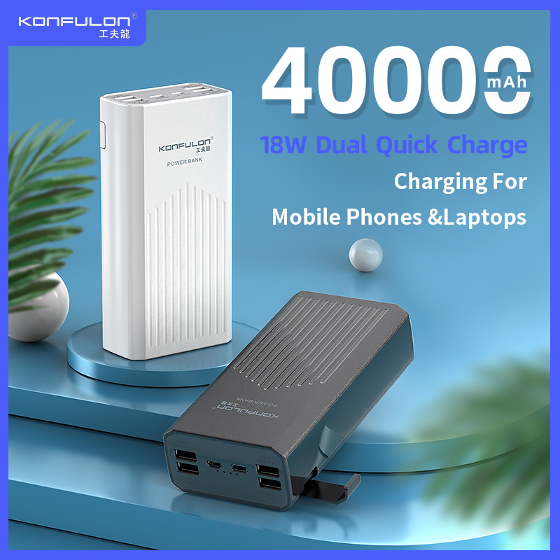 Power Bank QC/ PD18W Quick Charge Poverbank External Battery Charger Powerbank 4USB 40000 MAh Powerbank For/ Laptop Mobile Phone