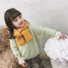 Korean Knit Wool Solid Twist Soft Warm Autumn Winter Thick Kids Children Boys Girls Shawls Wraps Scarves Accessories-LHC