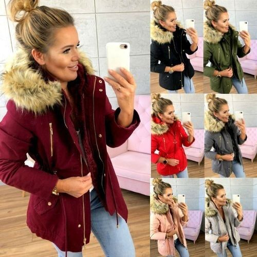 Lugentolo   Trench   Coat Women Hooded Fur Collar Elastic Belt Waist Pocket Zipper Solid Color Autumn and Winter New 6 Color