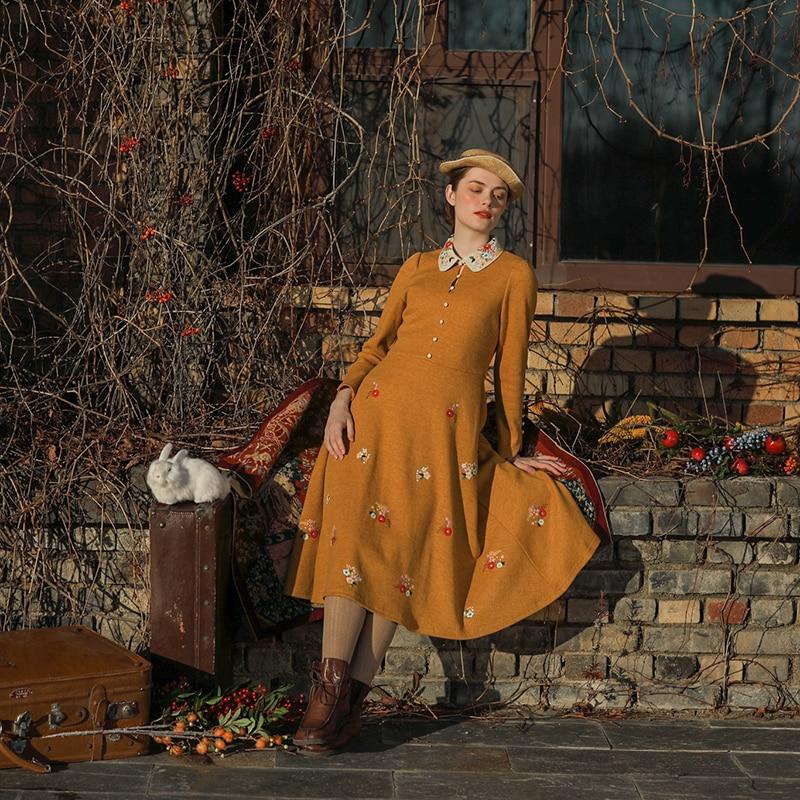 Originele Ontwerp Aigyptos Herfst Winter Nieuwe Vrouwen Vintage Elegante Slanke Mori Meisjes Franse Borduren Geel Lange Gebreide Jurken - 3