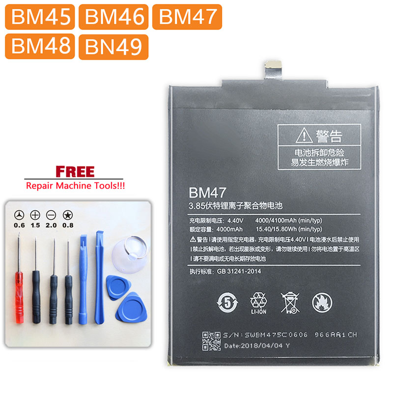 Para Xiaomi Redmi Max 2 Nota 3 Pro 3 3S 3X 4X/ Mi Nota 2 Max Bateria BM45 BM46 BM47 BM48 BM49