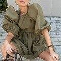 Модные Весенние новые платья с коротким пышным рукавом, женские элегантные трапециевидные повседневные платья, женские однотонные мини-пл...