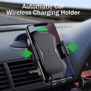 Image 2 - YKZ Qi Wireless Caricabatteria Da Auto per iPhone XS Max Samsung S10 Veloce Senza Fili Caricabatteria Da Auto Mount Supporto Del Telefono Mobile per huawei Xiaomi