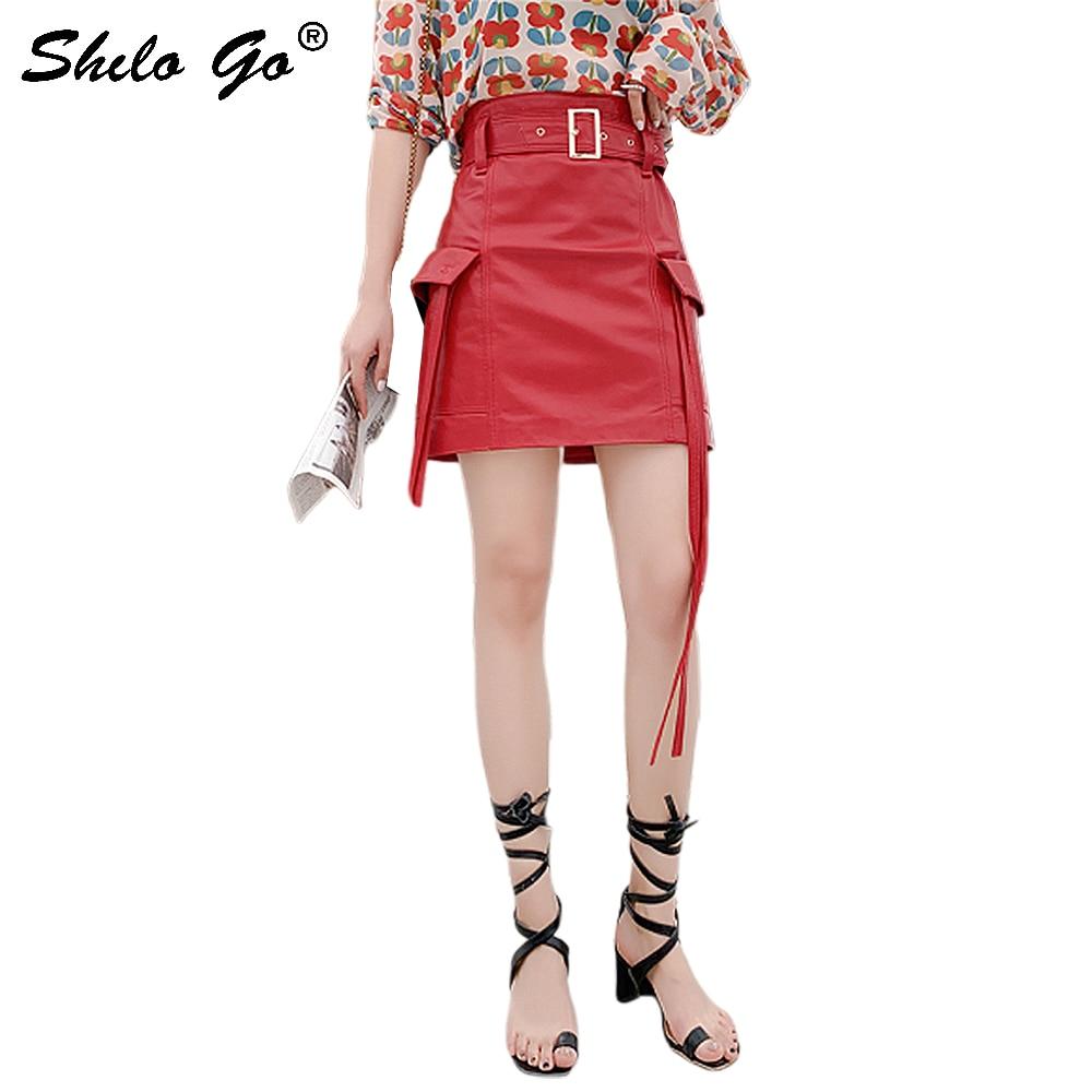 Genuine Leather Skirt Glamorous Buckle Belted Tassel Flap Pocket High Waist Skirt Women Autumn Elegant Going Out Pencil Skirt