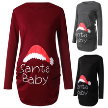 T-Shirts Maternity-Top Long-Sleeve Christmas-Side Print Pregnancy-Out Women's Ruched