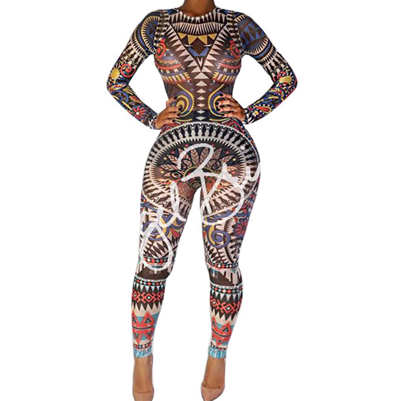 Jazz Dance Costumes Casual Printed Long Sleeve Jumpsuit Festival Rave Outfit Celebrity Nightclub Stage Dancewear Women DT1104