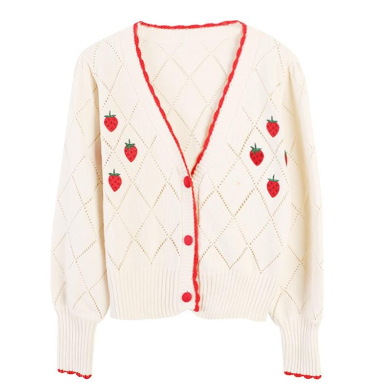 Women Soft V-Neck Sweaters Womens Sweet Cute Cardigans Sweaters Cardigans Knitted Loose Outwear Cardigan