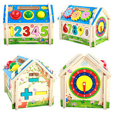 Wooden Multifunctional Disassembly Assembly Geometric Figures Shape Matching Intelligence House Toys Montessori early education