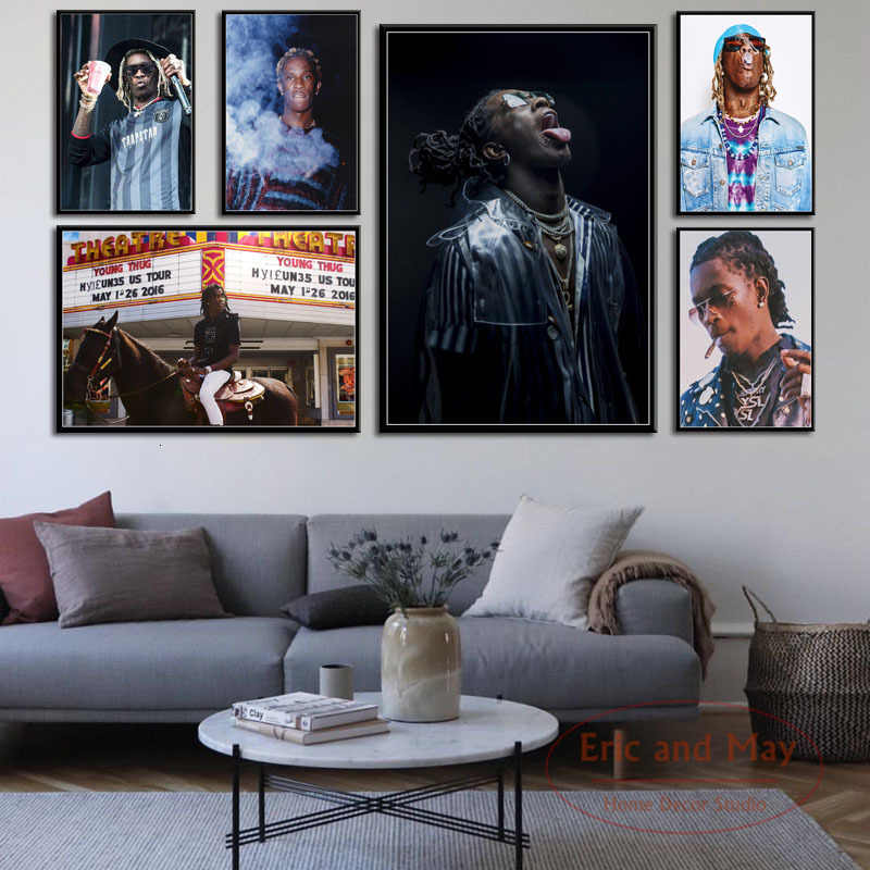 Young Thug Hip Hop Rap Music Singer Rapper Star Art Painting Vintage Canvas Poster Wall Home Decor
