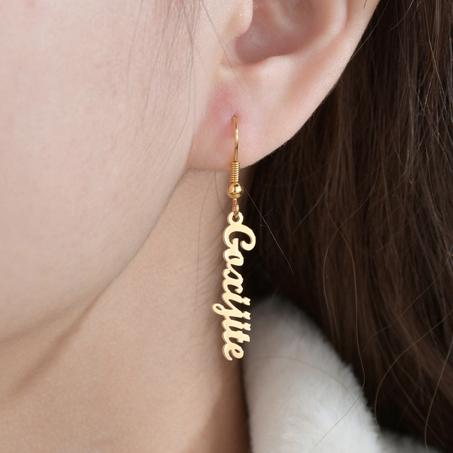 Diamante de alta qualidade personalizado nome brincos de ouro personalizar namplate brinco feminino jóias de aço inoxidável presente festa 6