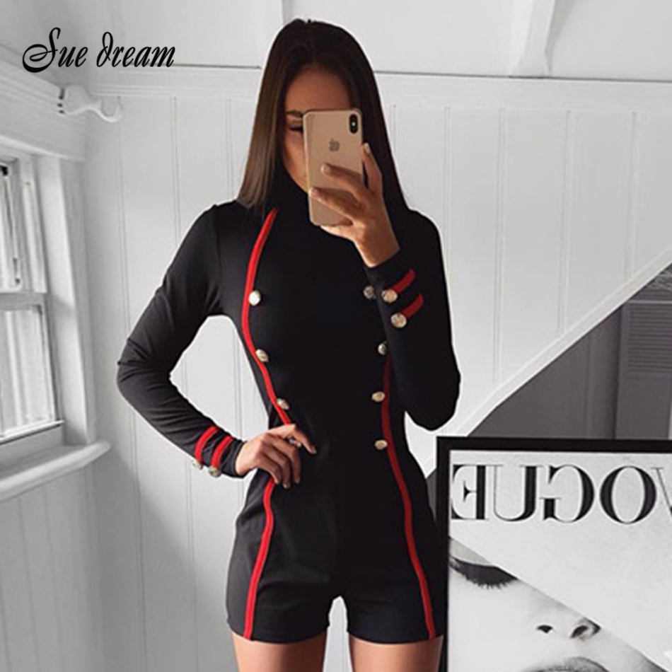 New 2019 Summer Track And Field Ladies Bandage Overalls Elegant Black Long-sleeved Button Short Jumpsuit Ladies Overalls
