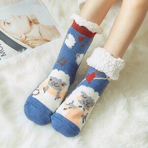 Image 3 - Mignon mouton dessin animé dames chaussettes hiver épais chaud chaussettes de sol doux respirant sommeil chaussettes nouvel an exquis cadeau chaussette de noël