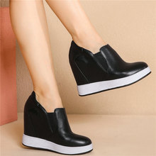 2020 Trainers Women Genuine Leather Wedges High Heel Platform Pumps Shoes Female Low Top Round Toe Fashion Sneakers Casual Shoes