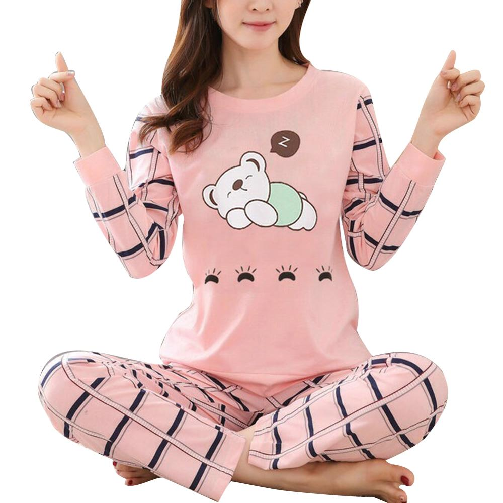 Winter Cute Cartoon Cater Print Pajamas Long Sleeve Two Piece Home Wear Women Casual O-Neck Pyjamas