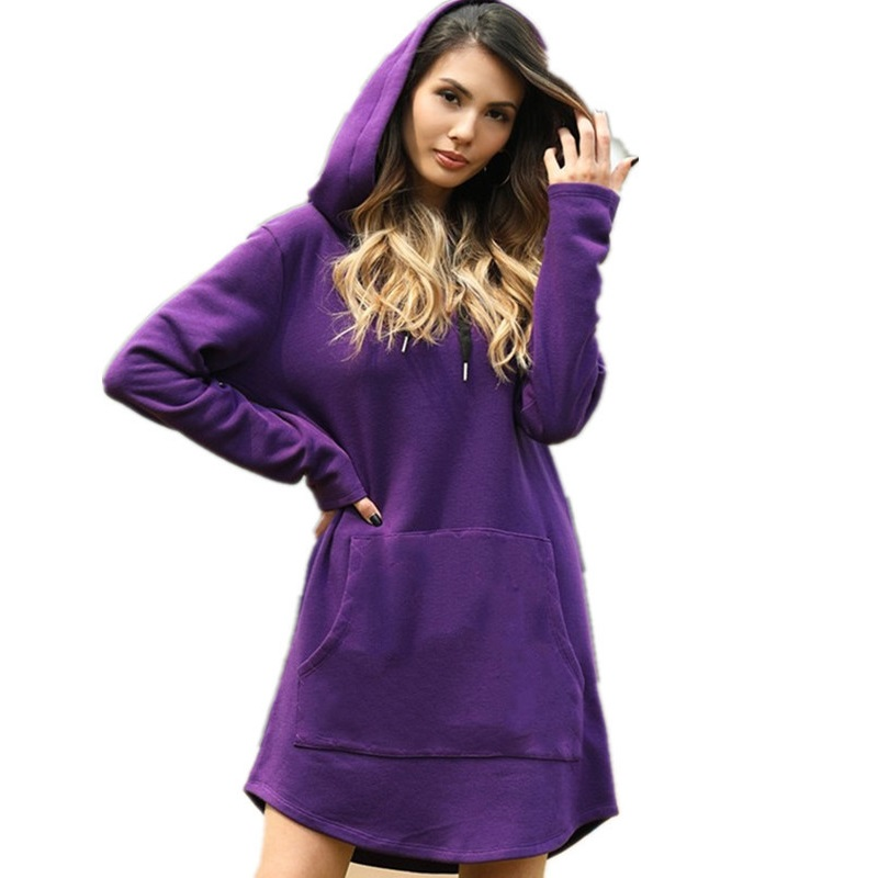 New Spring Autumn Hot Sales Women Sweatshirts Plus Size Casual Loose Solid Hooded MD-Long Style Sweatshirt For Women Hoodies 3XL
