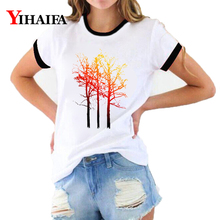 3D T Shirts Women Colorful Tree Print Tees Graphic Summer Short Sleeve Ladies Funny O-Neck Casual Tops