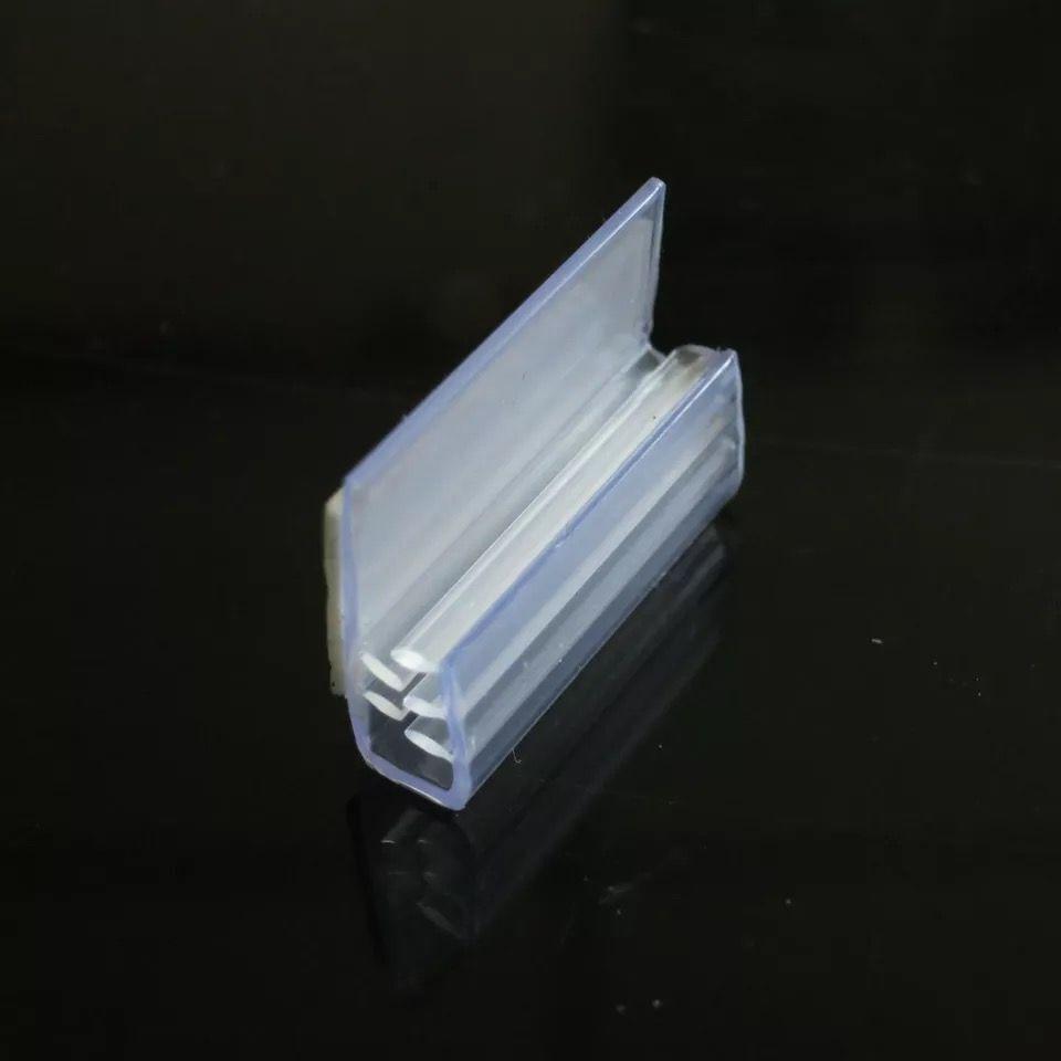 50pcs J Shape With Tape Soft Pvc Grip Snap Strip POP Extrude Clip KT Board Label Holder Shelf Sign Holder Strip