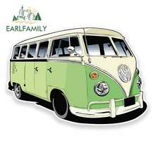 EARLFAMILY 13cm x Comic Camper Van Funny Car Stickers Vinyl JDM Cartoon Oem Waterproof Anime RV VAN 3D DIY Fine Decal