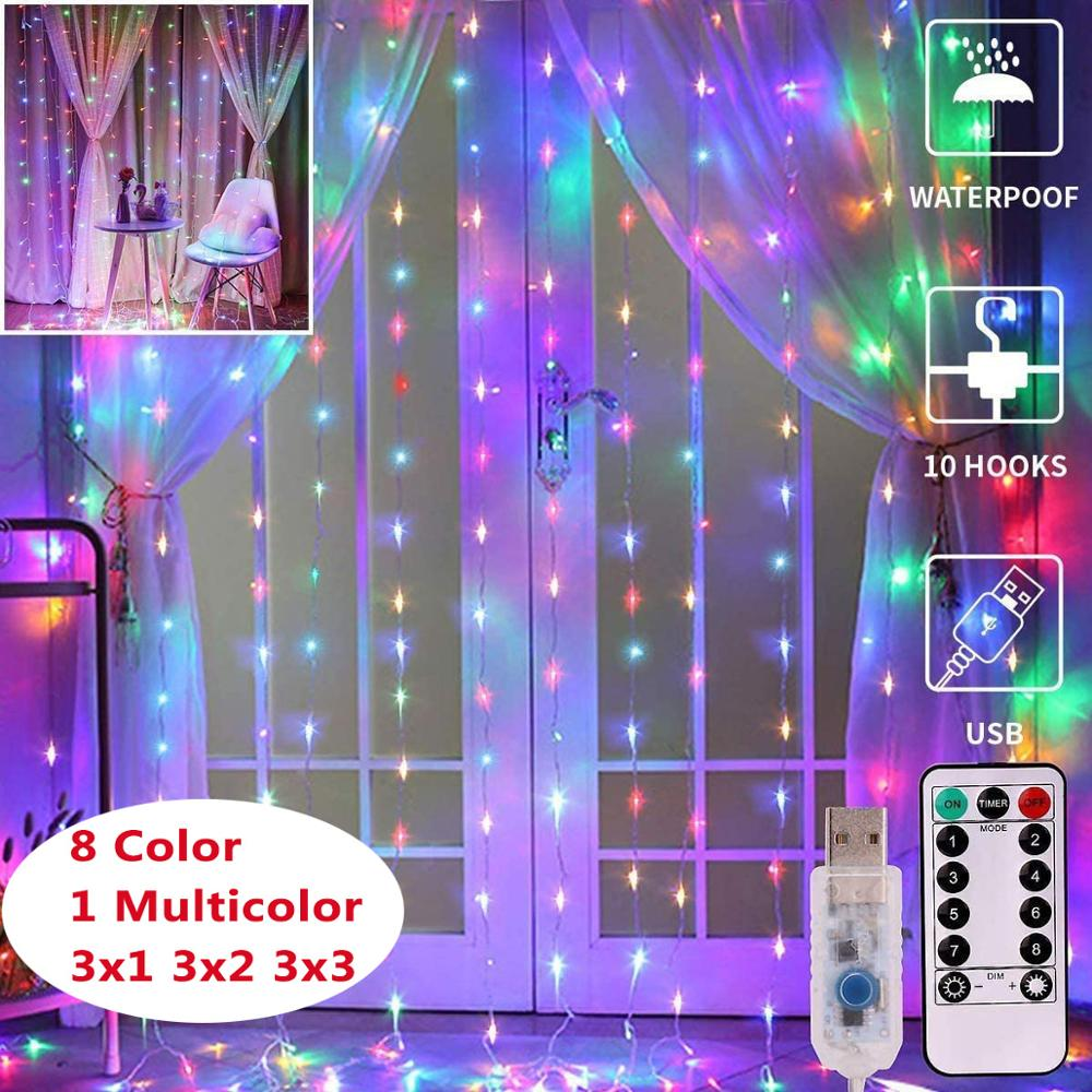 LEADLY 3x3m Window Curtain String Light 300 LED Lighting Fairy Lights Remote Control USB Waterproof Lights For Christmas Bedroom