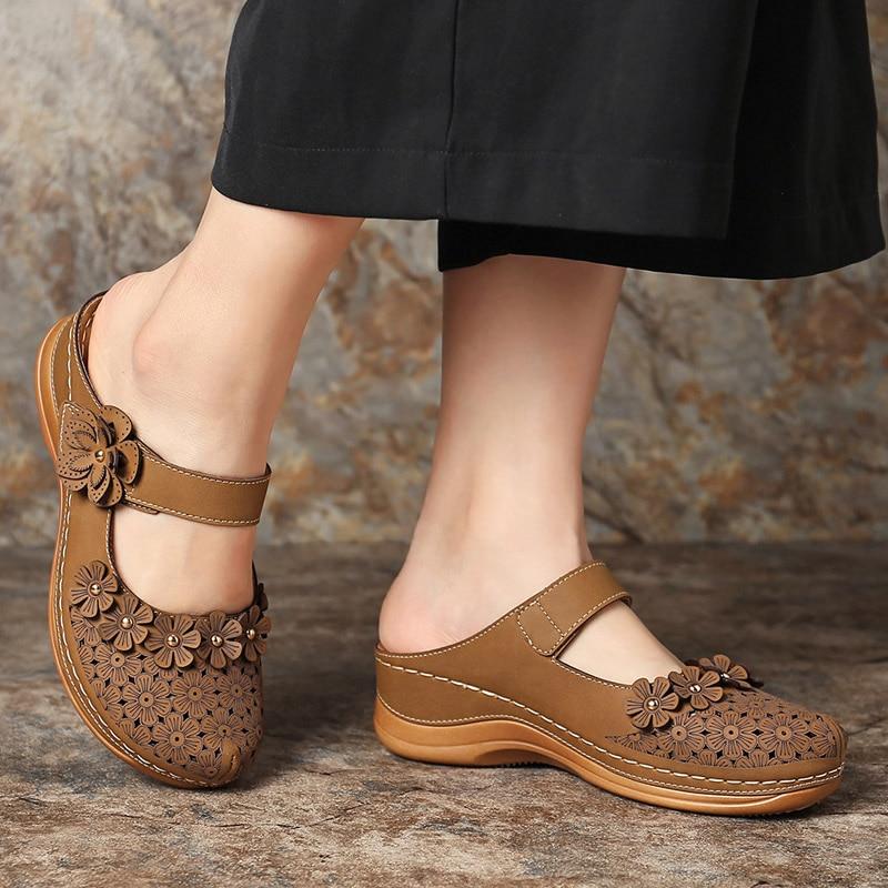Women Appliques Slippers Female Floral Sandals Woman Hollow Out Wedges Ladies Summer Walking Shoes Elegant Women's Plus Size