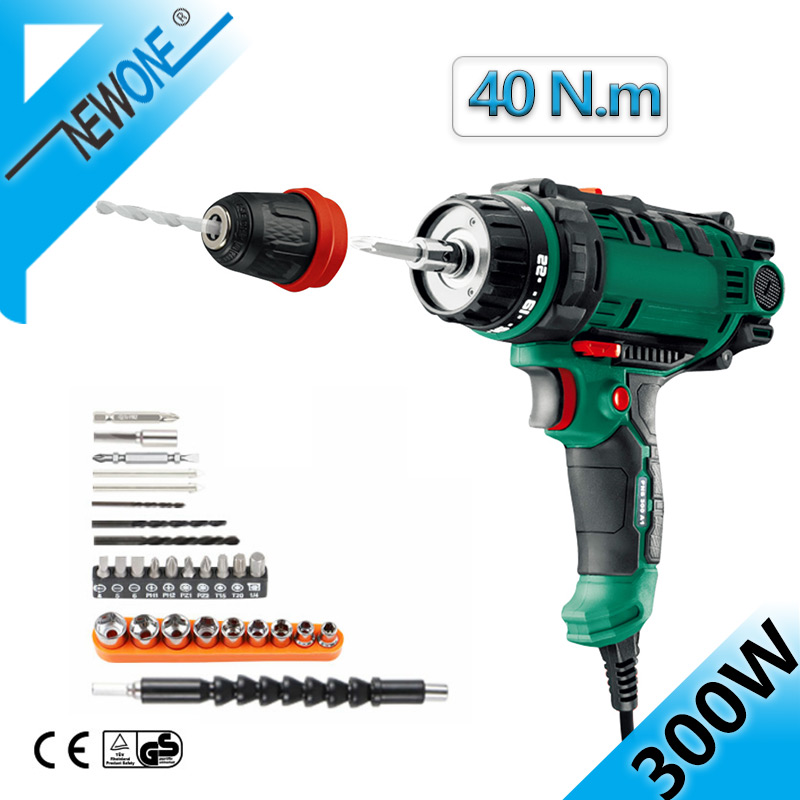 40N.m Torque Drill Tool,230V Corded Power Drill in Electric Drills with 10mm Quick-Release Chuck,Cord Screwdriver 26PC Accessory